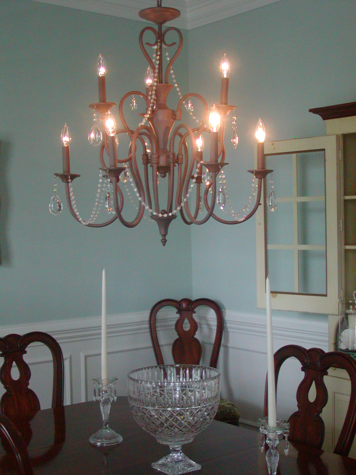 Light blue dining room - Dining Room With Finished Light Deborahwoodmurphy