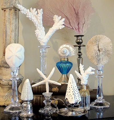 candle holders as display stands for shells