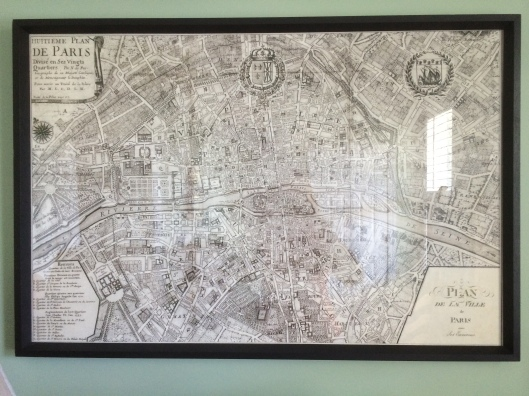 map of paris on wall